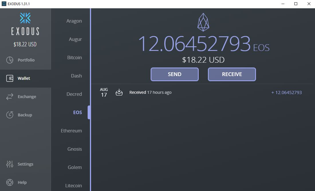 EOS crypto EXODUS wallet steemit.com nandibear.com nandi bear luke