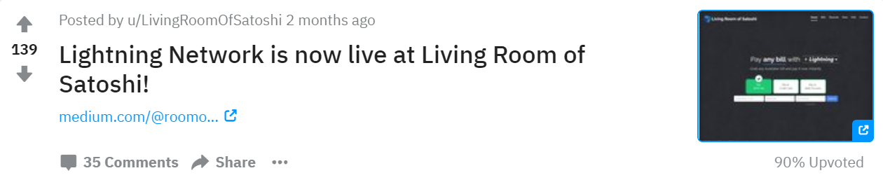 Reddit Lightning Network Is Now Live At Living Room Of Satoshi By Livingroomofsatoshi The Bitcoin Forum